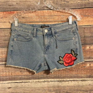 Express embroidered rose shortie low rise shorts